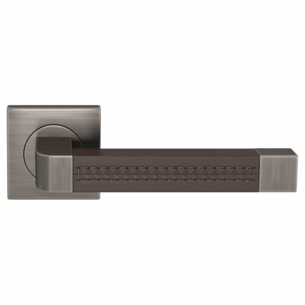 Turnstyle Design Door handle - Chocolate leather / Vintage nickel - Model R1941