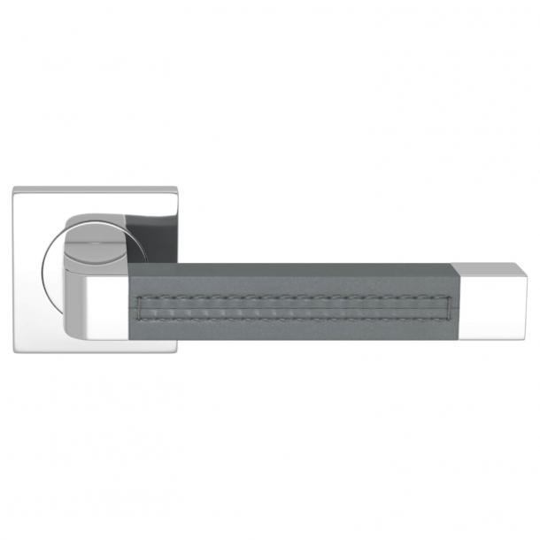 Turnstyle Design Door handle - Slate gray leather / Bright chrome - Model R1941