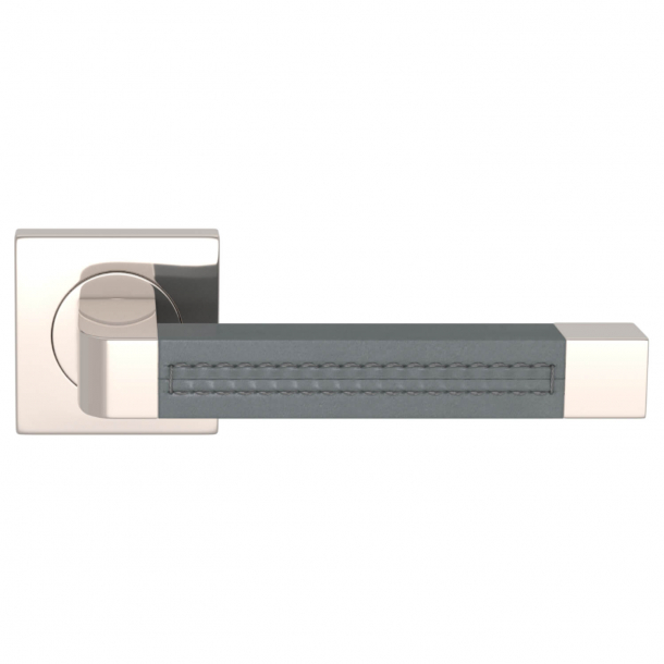 Turnstyle Design Door handle - Slate gray leather / Polished nikkel - Model R1941