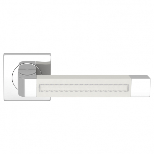 Turnstyle Design Door handle - White leather / Bright chrome - Model R1941