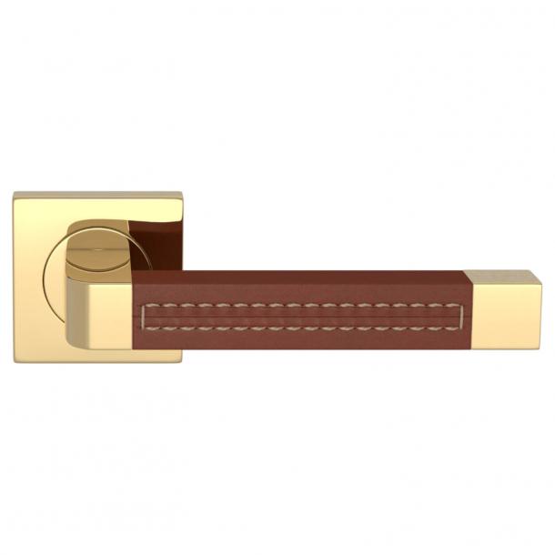 Turnstyle Design Door handle - Chestnut leather / Polished brass - Model R1941