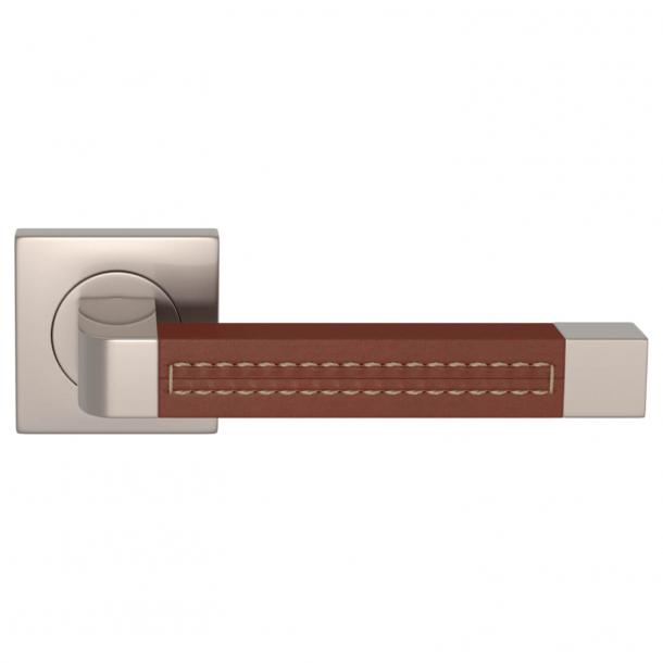 Turnstyle Design Door handle - Chestnut leather / Satin nikkel - Model R1941