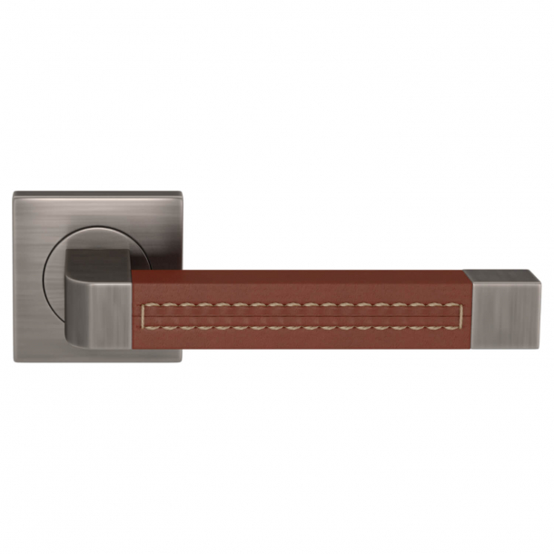 Turnstyle Design Door handle - Chestnut leather / Vintage nickel - Model R1941