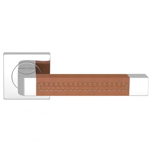 Turnstyle Design Door handle - Tan leather / Bright chrome - Model R1941