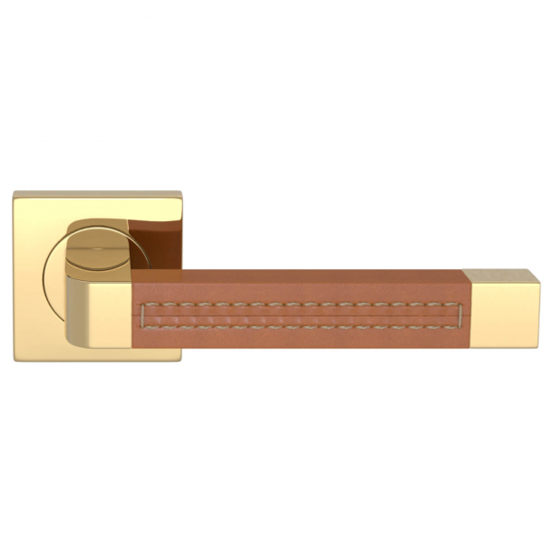 Turnstyle Design Door handle - Tan leather / Polished brass - Model R1941
