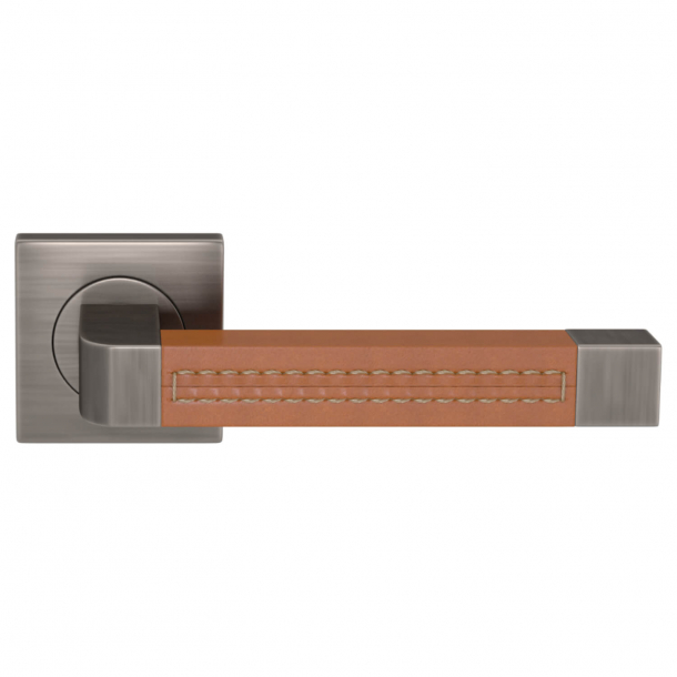 Turnstyle Design Door handle - Tan leather / Vintage nickel - Model R1941
