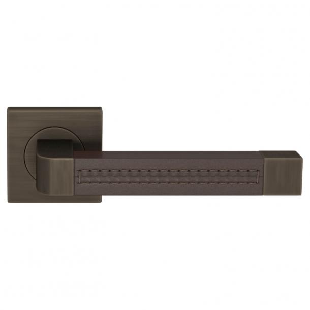 Turnstyle Design Dørgreb - Chokoladefarvet læder / Vintage patina - Model R1941