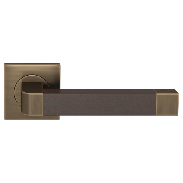 Turnstyle Design Door handle - Chocolate leather / Antique brass - Model R2030