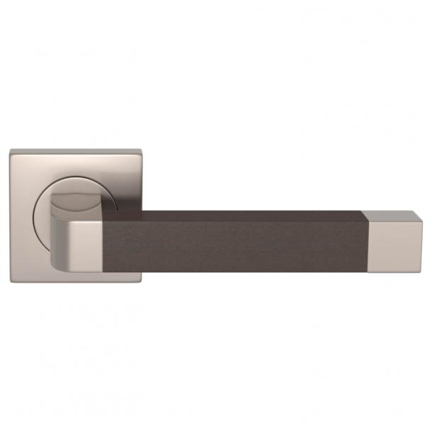 Turnstyle Design Door handle - Chocolate leather / Satin nickel - Model R2030
