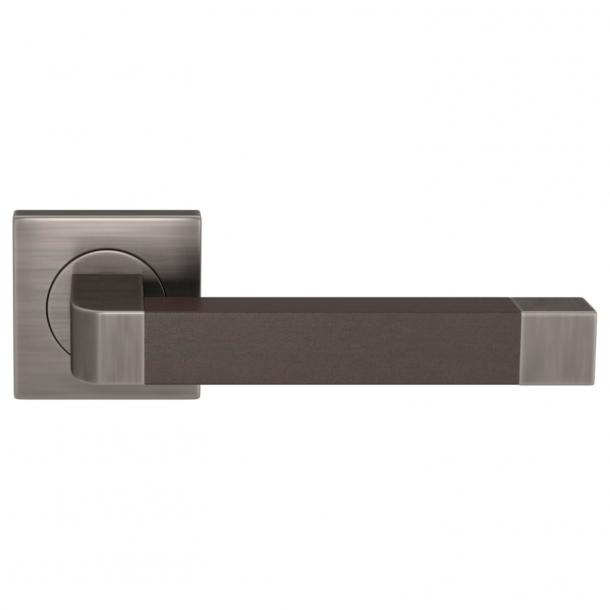 Turnstyle Design Door handle - Chocolate leather / Vintage nickel - Model R2030