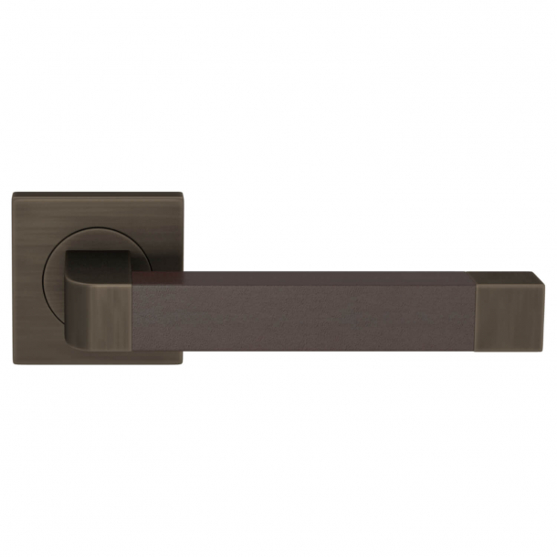 Turnstyle Design Door handle - Chocolate leather / Vintage patina - Model R2030