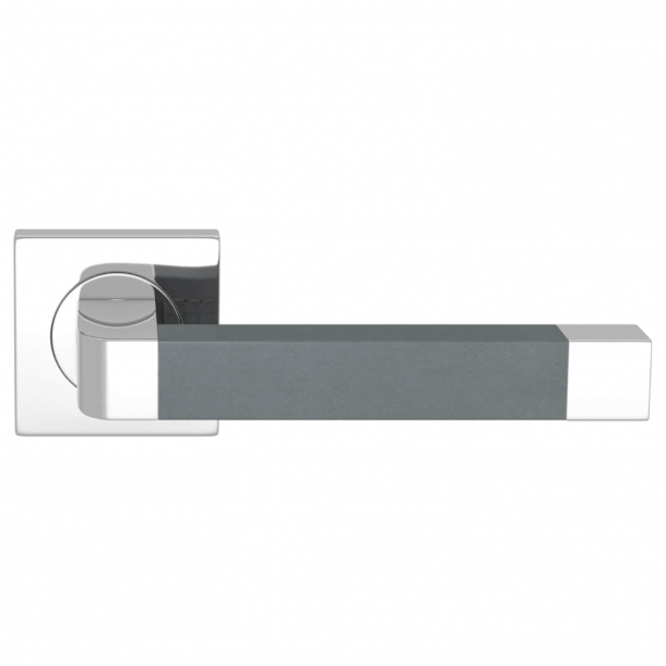Turnstyle Design Door handle - Slate gray leather / Bright chrome - Model R2030
