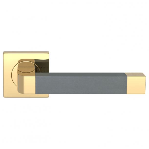 Turnstyle Design Door handle - Slate gray leather / Polished brass - Model R2030