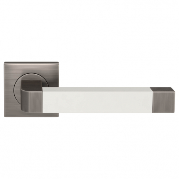 Turnstyle Design Door handle - White leather / Vintage nickel - Model R2030