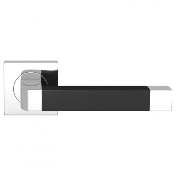 Turnstyle Design Dörrhandtag - Svart läder / Glansigt krom - Model R2030