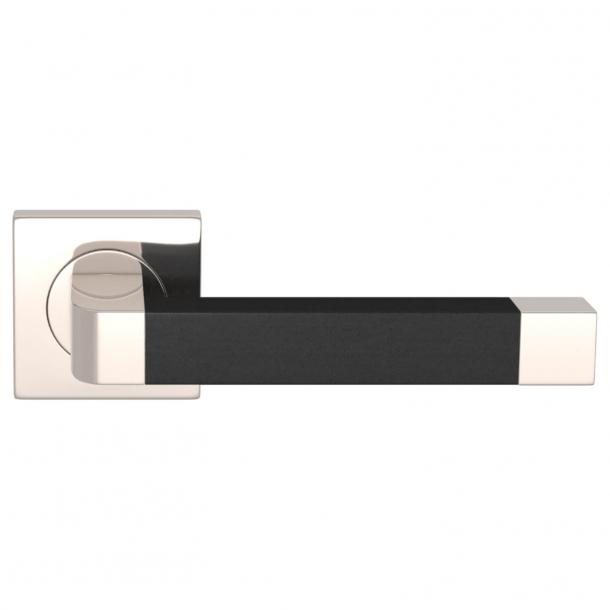 Turnstyle Design Dørgreb - Sort læder / Poleret nikkel - Model R2030