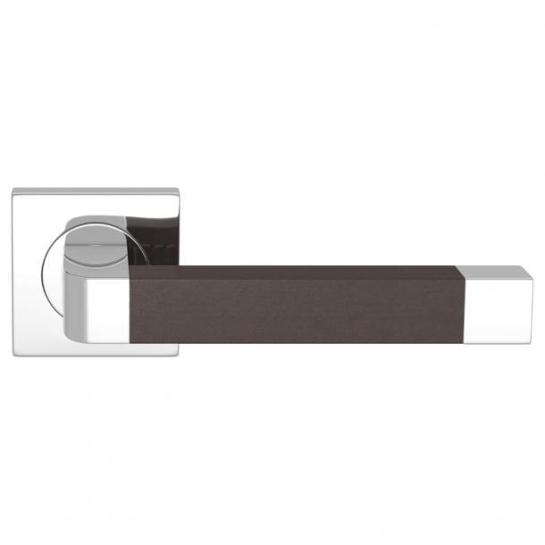Turnstyle Design Dørgreb - Chokoladefarvet læder / Blank krom - Model R2030