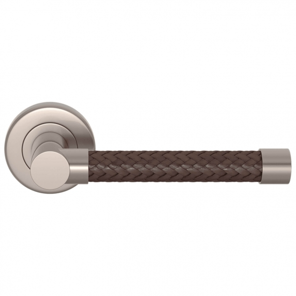 Turnstyle Design Door handle - Woven tobacco leather / Brushed nickel - Model R2076