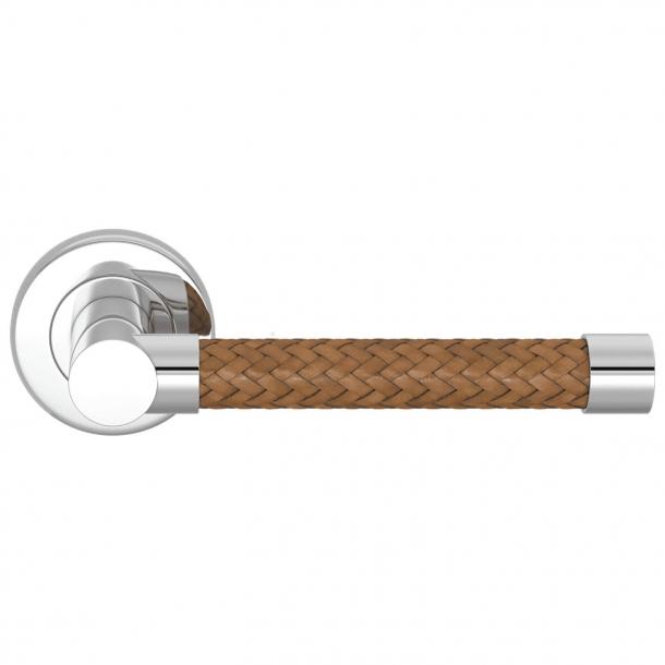 Turnstyle Design Dørgreb - Vævet whiskyfarvet læder / poleret krom - Model R2076