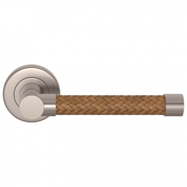 Turnstyle Design Door Handle - Woven whisky leather / Brushed nickel - Model R2076