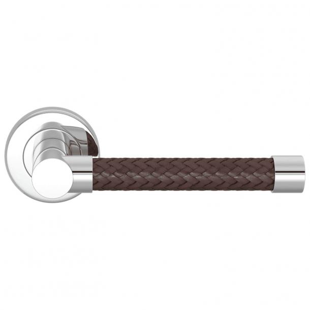 Klamka do drzwi - Turnstyle Designs - Brązowa skóra pleciona / Polerowany chrom - Model R2076
