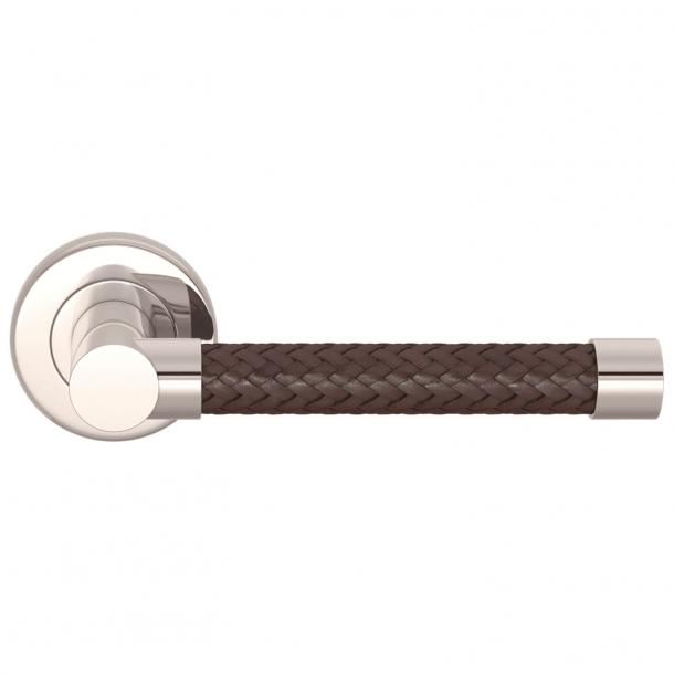 Klamka do drzwi - Turnstyle Designs - Brązowa skóra pleciona / Nikiel polerowany -  Model R2076