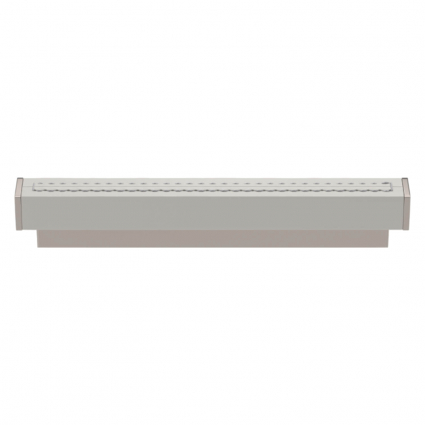 Turnstyle Designs Cabinet handles - White leather / Polished nickel - Model R2234