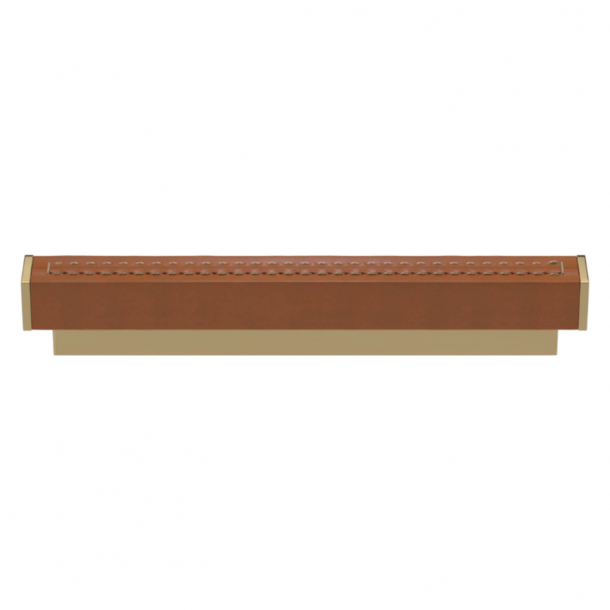 Turnstyle Designs Cabinet handles - Tan leather / Polished brass - Model R2234