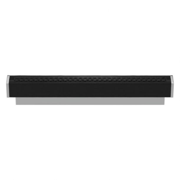 Turnstyle Designs Cabinet handles -  Black leather / Bright chrome - Model R2234