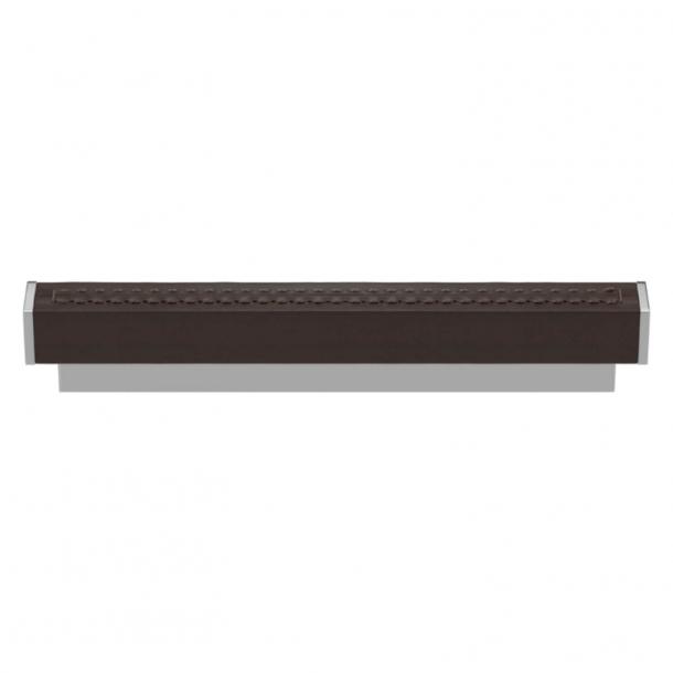 Uchwyt do mebli - Turnstyle Designs  - Skóra w kolorze czekolady / Błyszczący chrom - Model R2234