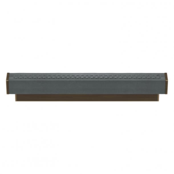 Turnstyle Designs Møbelgreb - Skifergråt læder / Antik messing - Model R2234