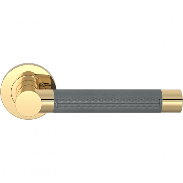 Turnstyle Design Door handle - Slate gray leather / Polished brass - Model R3073