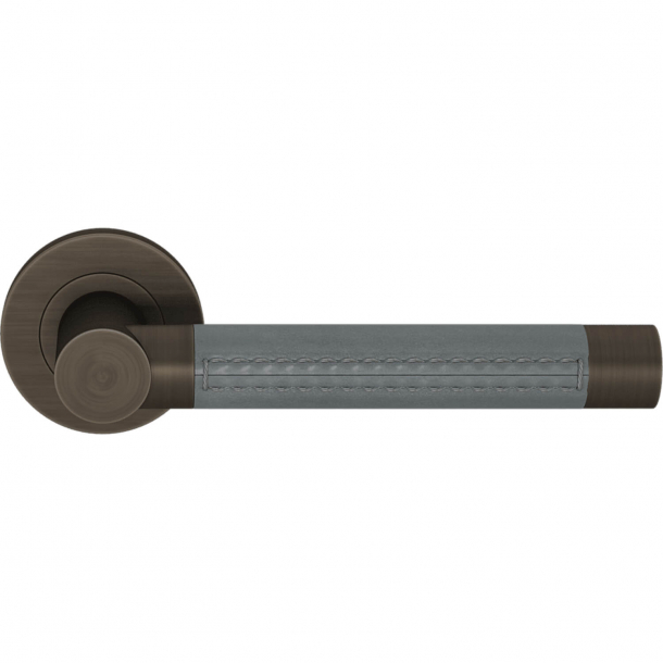 Klamka do drzwi - Łupkowo-szara skóra / Patyna w stylu vintage - Turnstyle Designs - Model R3073