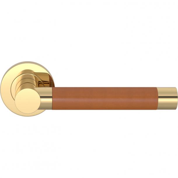 Klamka do drzwi - Tan skóra / Mosiądz polerowany - Turnstyle Designs - Model R3083