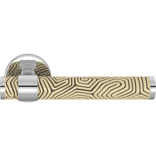 Turnstyle Design Door handle - Sand / Bright chrome - Model B7005