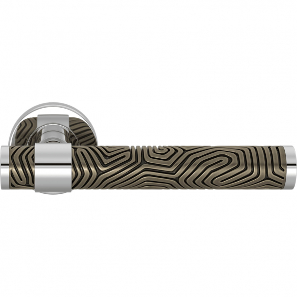 Turnstyle Design Door handle - Silver bronze / Bright chrome - Model B7005