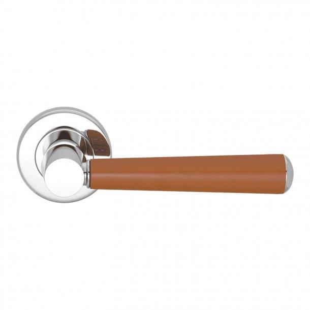 Door handle leather - Tan /  Bright chrome - Model C1000