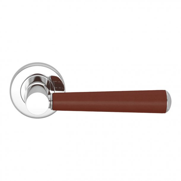 Door handle leather - Chestnut /  Bright chrome - Model C1000