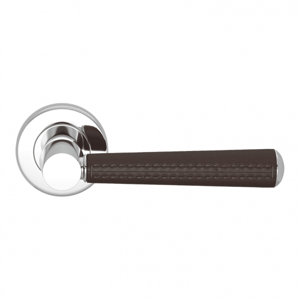 Door Handle Leather - Chocolate / Chrome - Pipe with Stitch Out - Model C1012