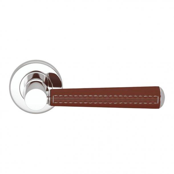 Dørgreb - Kastanjefarvet læder og blank Krom - Syninger udad - Model C1012