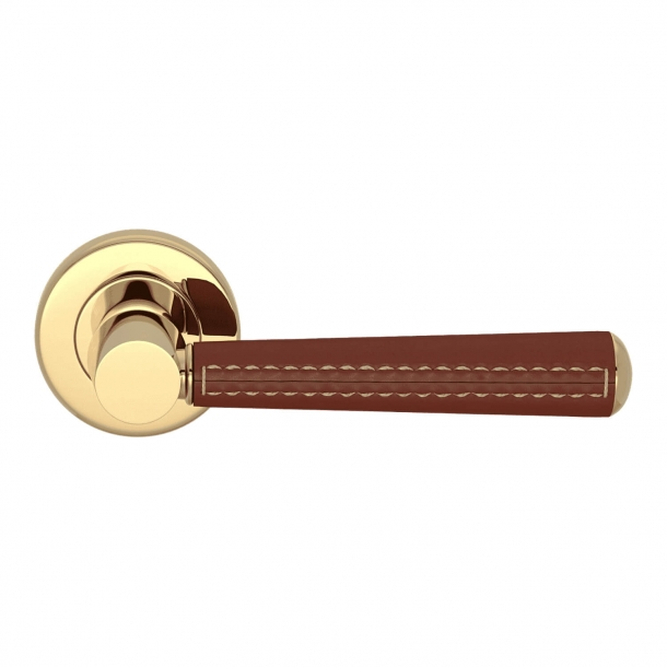 Door Handle Leather - Chestnut / Polished Brass - Pipe with Stitch Out - Model C1012