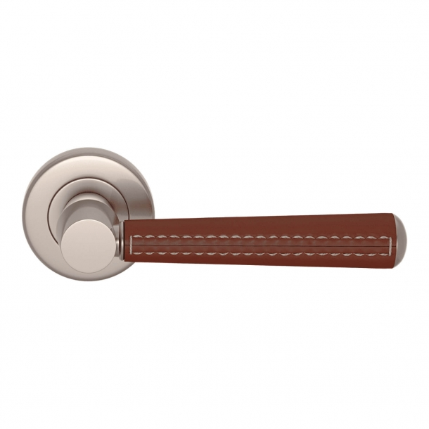 Door Handle Leather - Chestnut / Nickel satin - Pipe with Stitch Out - Model C1012