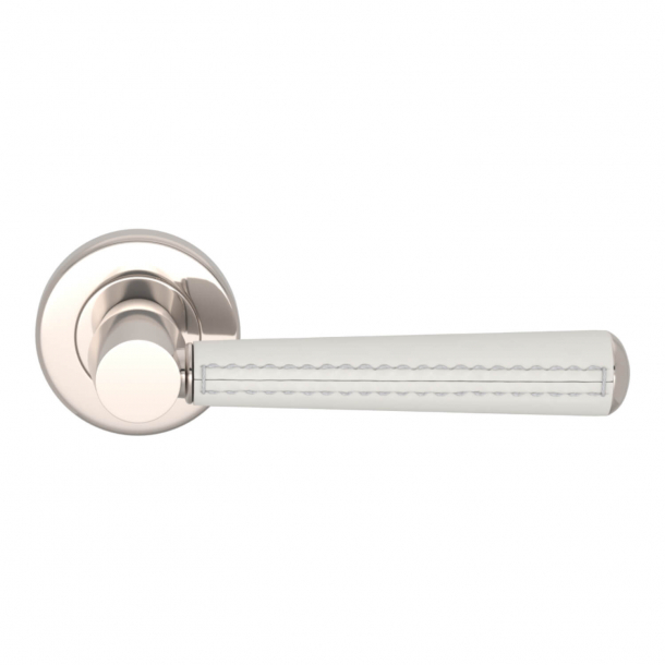 Turnstyle Design Door Handle - White leather / Polished nickel -  Model C1012