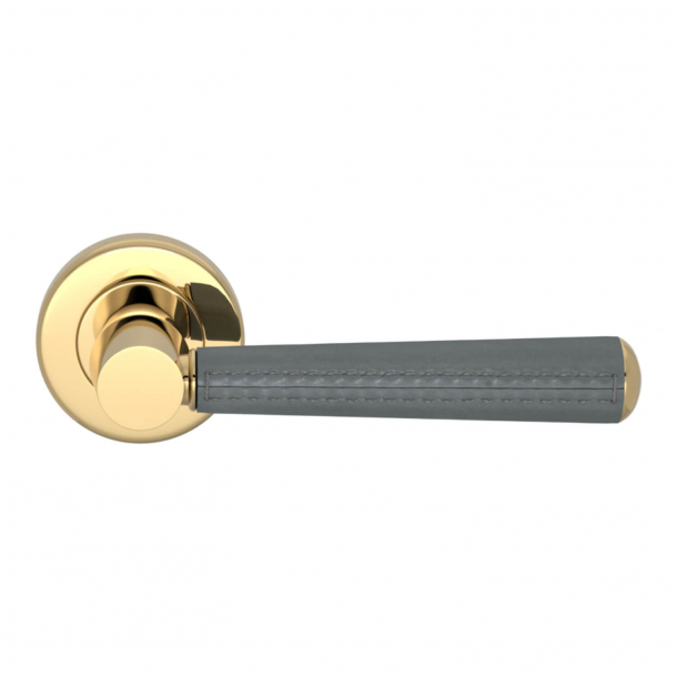 Turnstyle Design Door Handle - Slate gray leather / Polished brass -  Model C1012