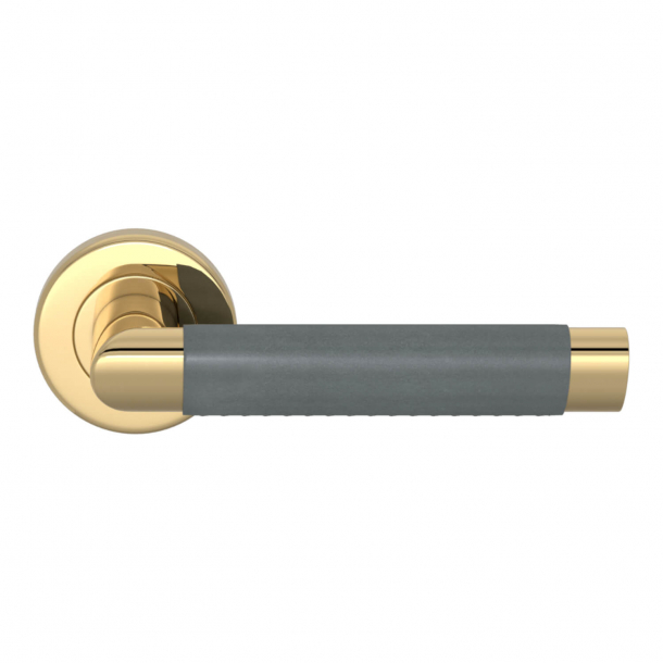 Turnstyle Design Door handle - Slate gray leather / Polished brass - Model C1013