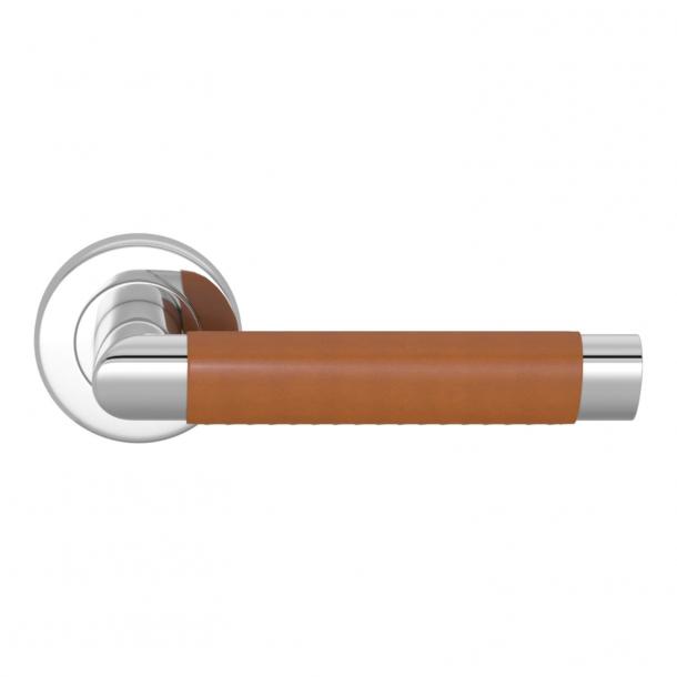 Turnstyle Design Door handle - Tan leather / Bright chrome - Model C1013