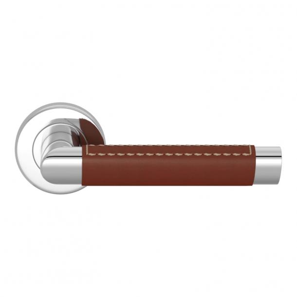Turnstyle Design Door handle - Chestnut leather / Bright chrome - Model C1414