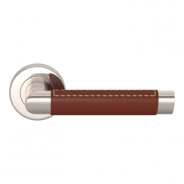Turnstyle Design Door handle - Chestnut leather / Polished nickel - Model C1414