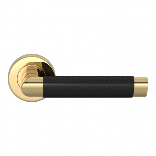 Turnstyle Design Door handle - Black leather / Polished brass - Model C1414