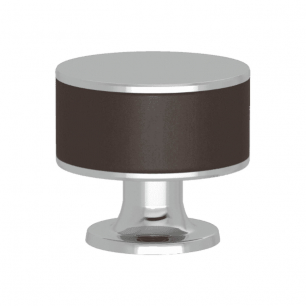 Turnstyle Designs Cabinet knob - Chocolate leather / Bright chrome - Model R5065